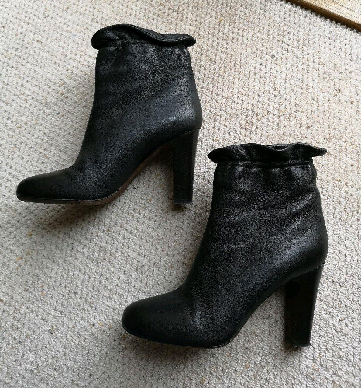 Dkny mujer Karan Tacón Alto botas-Cuero Marrón Oscuro-Reino Unido 5 - 6 8 EE. UU.
