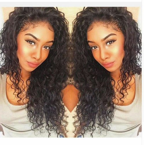 Glueless Brazilian 100 Human Hair Lace Front Wig Full Lace Wigs curly baby hair