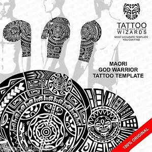 Maori-Samoan-Polynesian-GOD-WARRIOR-Tattoo-Stencil-Template