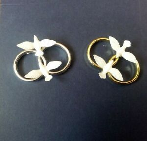 Details About Single Or Double Wedding Ring With Doves Weddinganniversary Cake Decorations Si
