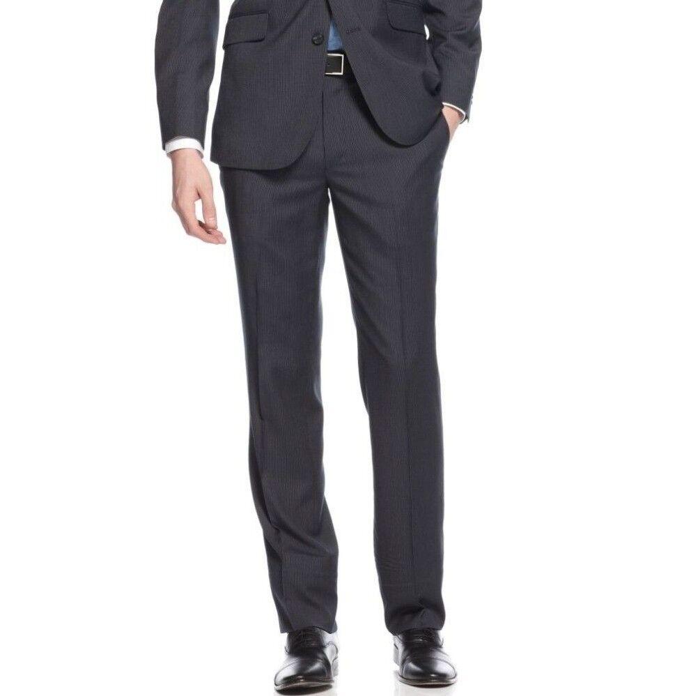 KENNETH COLE REACTION men blueE SLIM FIT FLAT FRONT DRESS PANTS 33 W 30 L