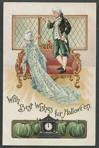c-1908-BEST-WISHES-FOR-HALLOWEEN-Colonial-Couple-Green-Pumpkins-German-Postcard