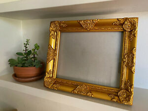 Ornate-Antique-Gold-Frame-and-Glass-Baroque-Wood-Fits-8x10