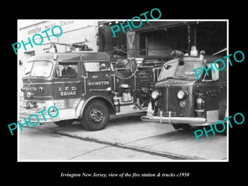 OLD 6 X 4 HISTORIC PHOTO OF IRVINGTON NEW JERSEY, FIRE DEPARTMENT TRUCKS c1950