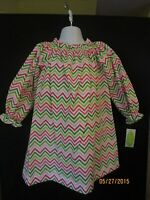 Chevron In Pinks & Greens A-line Elastic Neck Dress Long Sleeve Be Mine