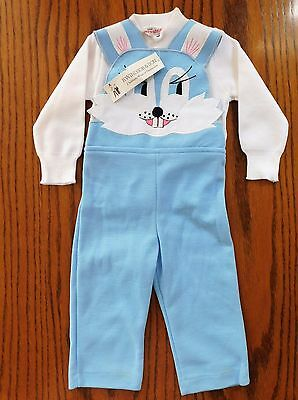 Vintage baby clothes RABBIT dungarees set bib brace trousers top UNUSED boy girl