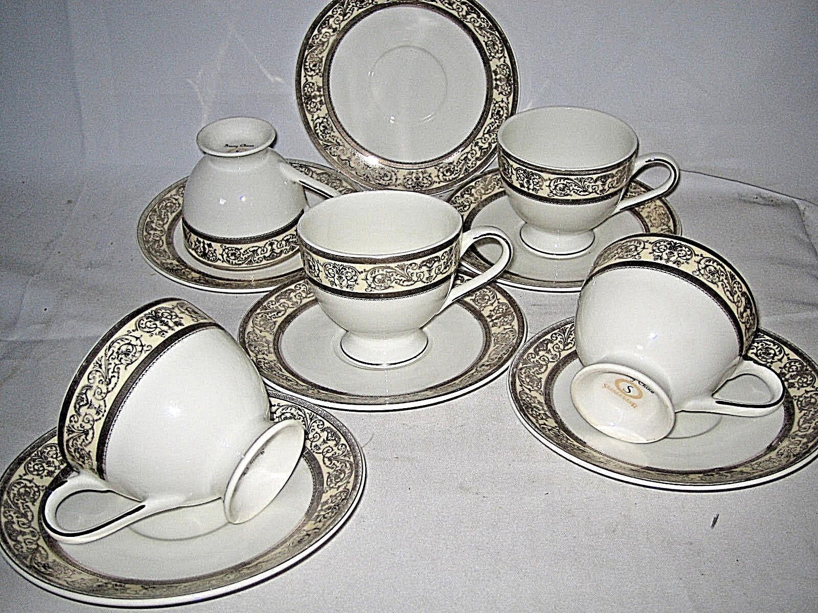 Shinepukur Ambrosia Platinum Cups and Saucers Lot Scrolls 11-pcs RARE