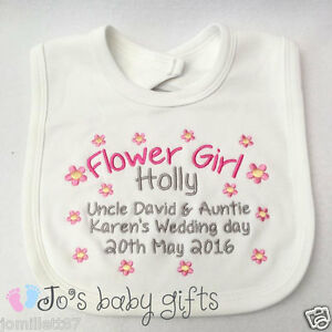 Embroidered personalised babytoddler flower girl bib wedding image is loading embroidered personalised baby toddler 039 flower girl 039 negle Image collections