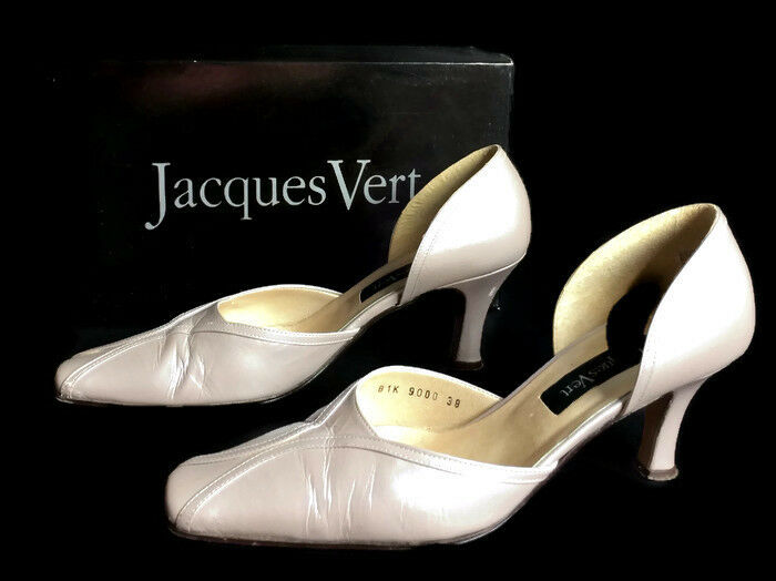 Jacques green Ladies Pewter UK 5 EURO 38 D'Orsay Style Square Toe Leather shoes