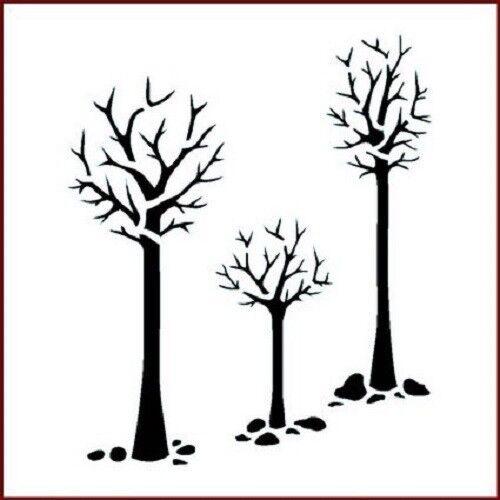 "Imagination Crafts MYLAR STENCIL 6/"" x 6/"" THREE TREES Christmas IC-STEN-THREETR"