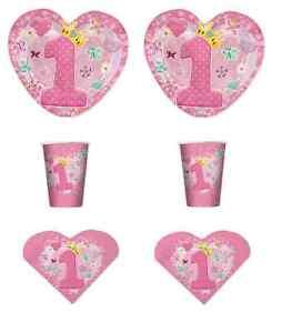 Dettagli Su Irpot Kit N 2 Primo Compleanno Bimba 1 Anno Cuore Rosa Festa Party Addobbi