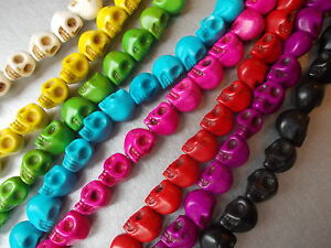 Skull Synthetic Howlite Loose Random Mixed Beads 9mm Pack of 25 Pieces