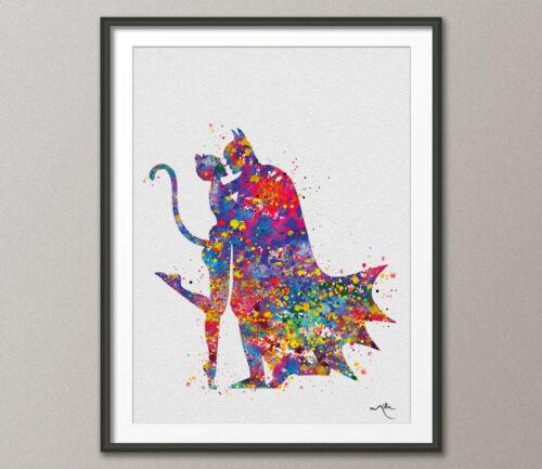 Batman and Catwoman Watercolor Painting Print Super Hero Wall Decor Art