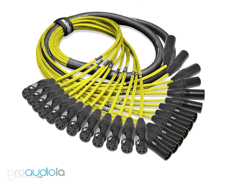 Premium Mogami 2933 12 Channel Snake   Neutrik Gold XLR-F XLR-M   Gelb 5 Feet