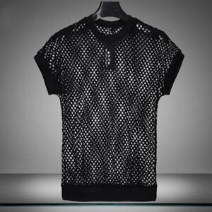 Mens-Stretch-Short-Sleeve-Fishnet-Mesh-See-Through-T-shirt-Gothic-Punk-Rock-Tops