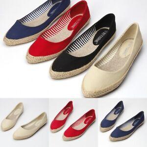 Femmes-Mocassins-Espadrilles-bout-pointu-toile-Slip-on-Flats-Respirant-Chaussures-Bateau
