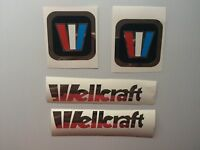 4 Wellcraft Marine Vinyl Decals 2 Square & 2 Chrome Lettering 6 X 1 Inch