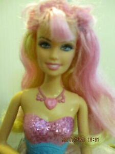 BARBIE-DOLL-BLONDE-amp-PINK-HAIR-BENT-ARM-amp-1-STRAIGHT-ARM-PINK-SKIRT-SPEAKER