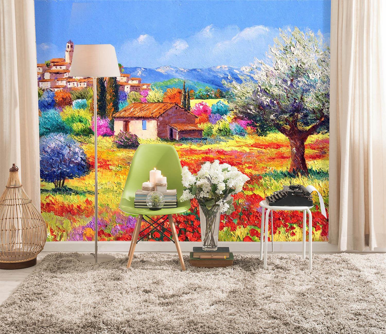 3D Wild Flower Manor Hut 9 Wall Paper Decal Dercor Home Kids Nursery Mural  Home