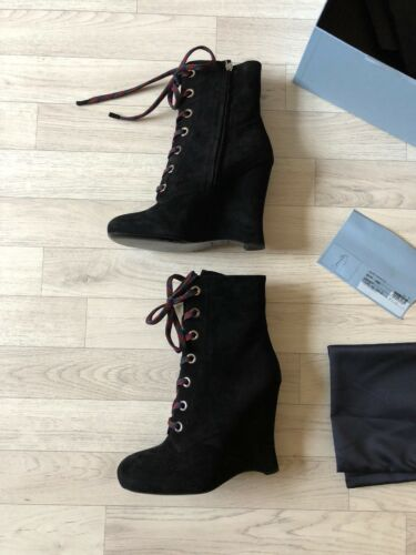 High Black Ankle Suede Eu40 Lace Ladies Heel Up Uk7 Boot Boots Prada 8HIxqPw