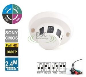 HDTVI Spy Smoke Detector 2.4MP 1080p Hidden Covert Camera 3.7mm Pinhole Lens