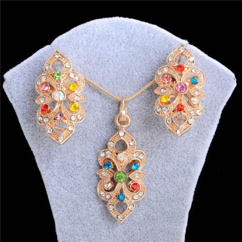 Fashion Women Gold Cristal Strass Collier Boucles d/'Oreilles Mariage Bijoux jeux NEUF