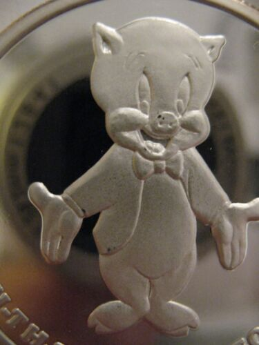 1OZ.999 SILVER RARE PORKY PIG & BUGS BUNNY THAT ALL FOLKS 50TH ANNIVERSARY+GOLD