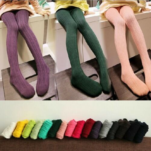 New Baby Girls Tights Kids Girls Socks Pantyhose Twisted Stripe Size 95-125 UK
