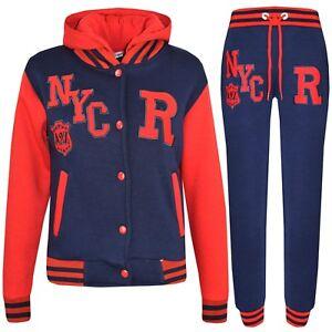 Details zu Kinder Jungen Mädchen Baseball R Nyc Trainingsanzug Navy mit Kapuze Uni Jacke &