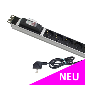 "2x DCP 19"" Zoll PDU 6-fach Steckdosenleiste für Rackmontage Aluminium   grau"