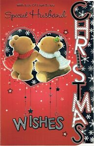 SPECIAL HUSBAND, CHRISTMAS CARD, LARGE Cute bears Design