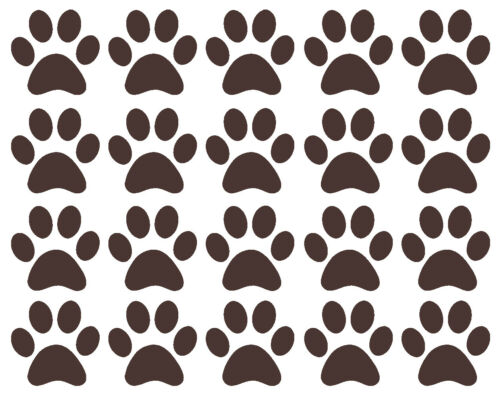 20 x Paw Print Vinyl stickers Decal Mural Crafting Cardmaking Wall Mirror Window