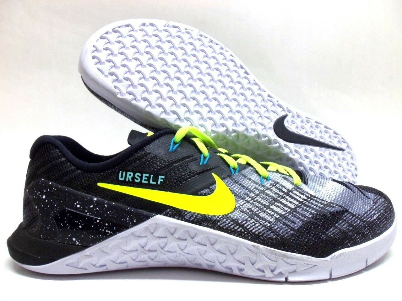 NIKE METCON 3 ID BLACK/MEDIUM GREY-VOLT SIZE Uomo 8.5