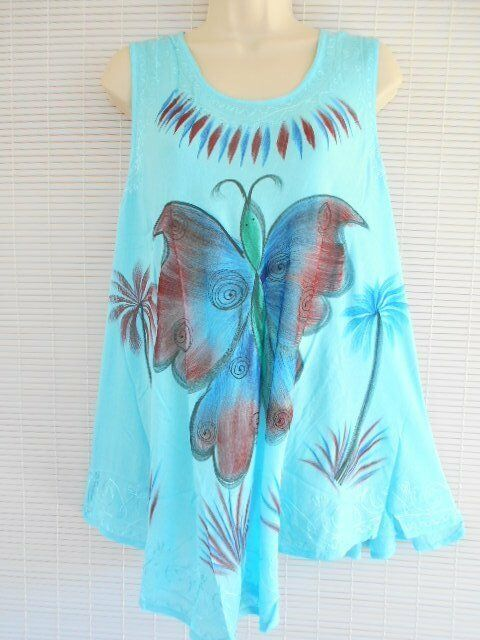 Rayon Embroidery Tunic Top Blouse Free Size Sleeveless Butterfly Hippie Blue