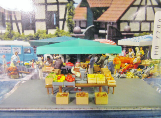 HO Busch PRE-BUILT FARMERS MARKET STAND MINI-SCENE with Accessories # 7706