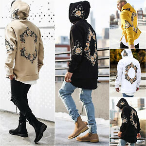Mens Hoodie Sweatshirt Sweater Hooded Floral Tops Jacket Coat Outwear Pullover