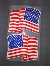 "5"" American Waving Flag DARK Subdued 3M REFLECTIVE Stickers (x2)  Decal Police"