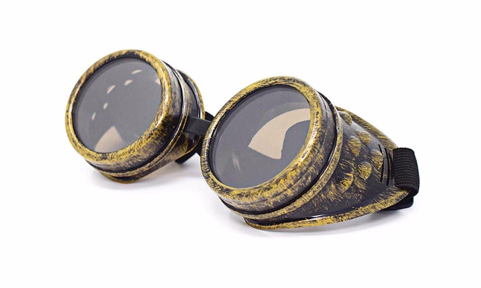 Nouvelle Steampunk lunettes or brun verres Cyber Vintage Retro lunettes de  soudure c91f640b247f