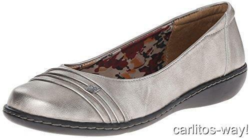 29950d54af8 NEW SOFT STYLE BY HUSH PUPPIES JORDYN LEATHER SLIP ON WEDGE 11 WIDE PEWTER