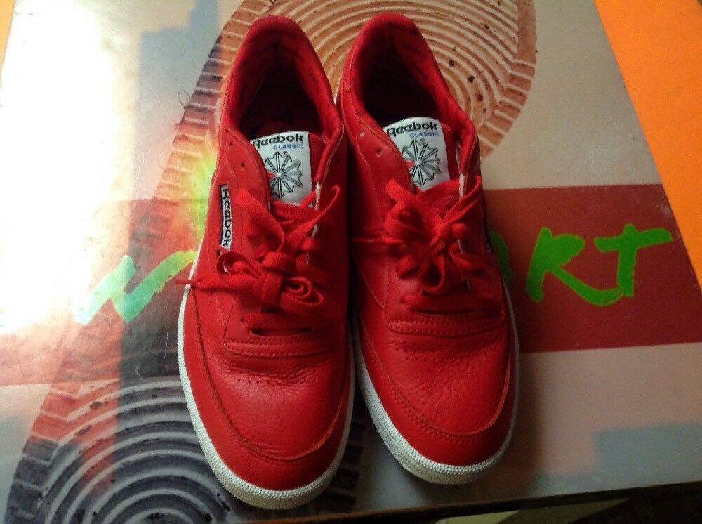 Reebok Club C 85 Classic Mens shoes Sneakers Red White Size 9.5 Free Shipping