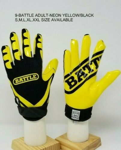 Battle Ultra-Stick Football Receivers Gloves Neon Yellow//Black Adult /& Youth