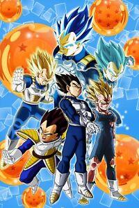Dragon ball super poster majin vegeta all forms ssj 1 2 blue 11x17 13x19 ebay - Vegeta all forms ...