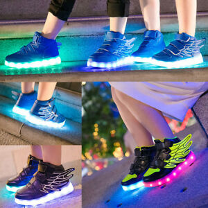 USB Charge LED Flash Light Up Shoes Kid Boys Girls Casual Trainers Sneakers Blue