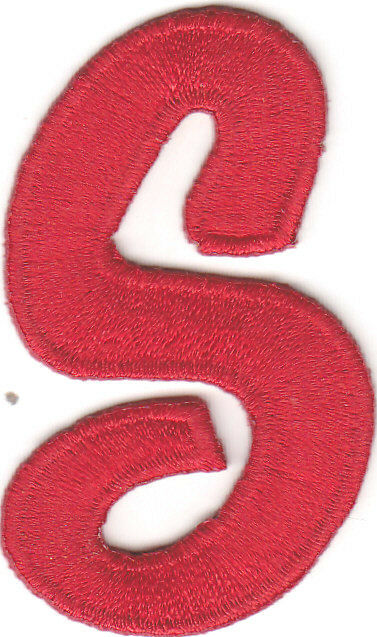 """Iron On Embroidered Applique SCRIPT LETTERS Red Script 2/"""" Letter /""""K/"""""""