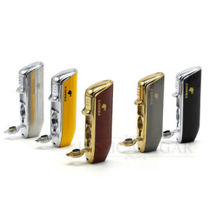 COHIBA-Metal-3-Torch-Flame-Cigarette-Cigar-Lighter-With-Punch-WindProof
