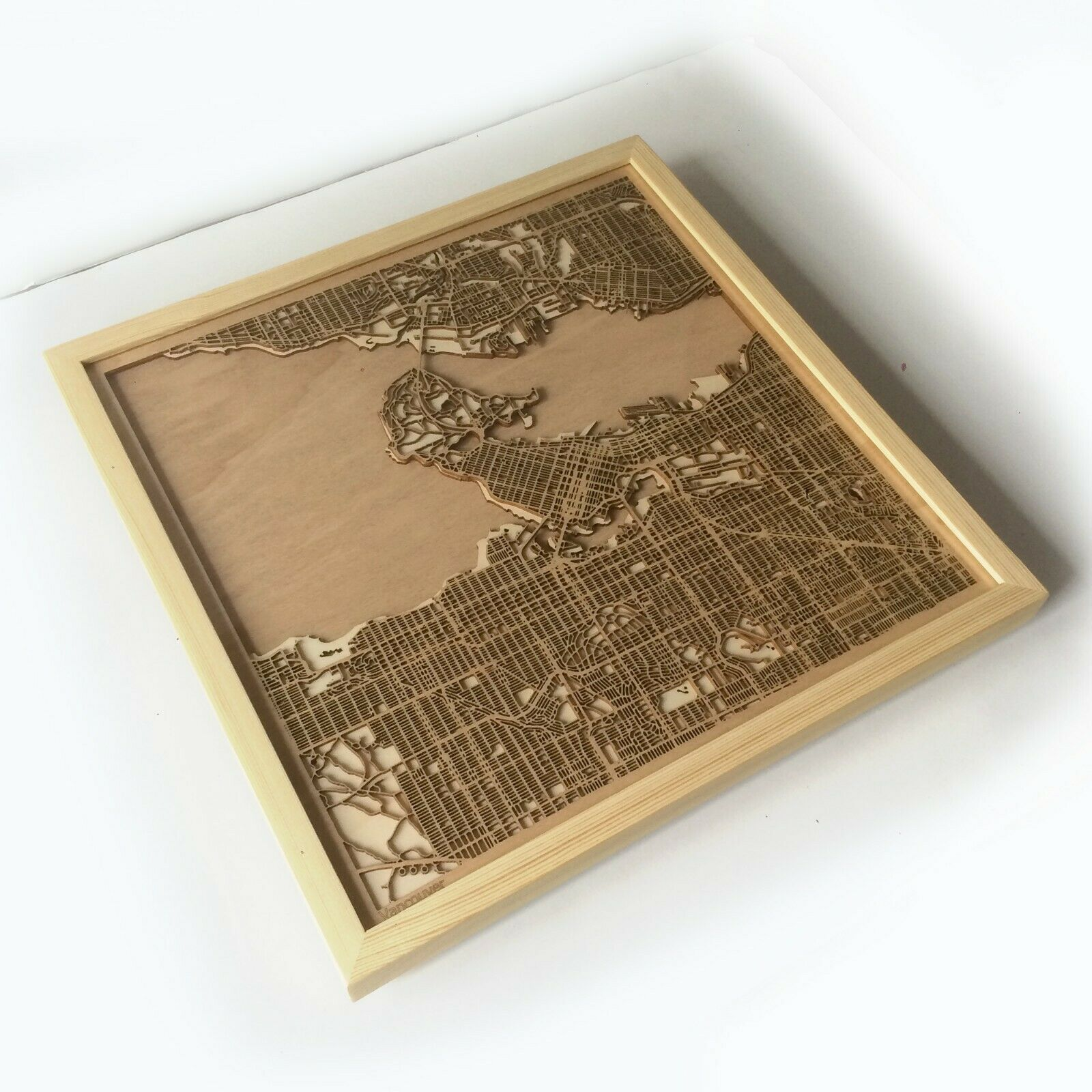 Vancouver Wooden Map - Laser Cut Streets City Maps 3d Framed Wall Art Wood