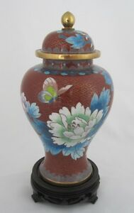 7-1-2-034-Chinese-Beijing-Cloisonne-Cremation-Urn-Red-Floral-and-Butterflies-New