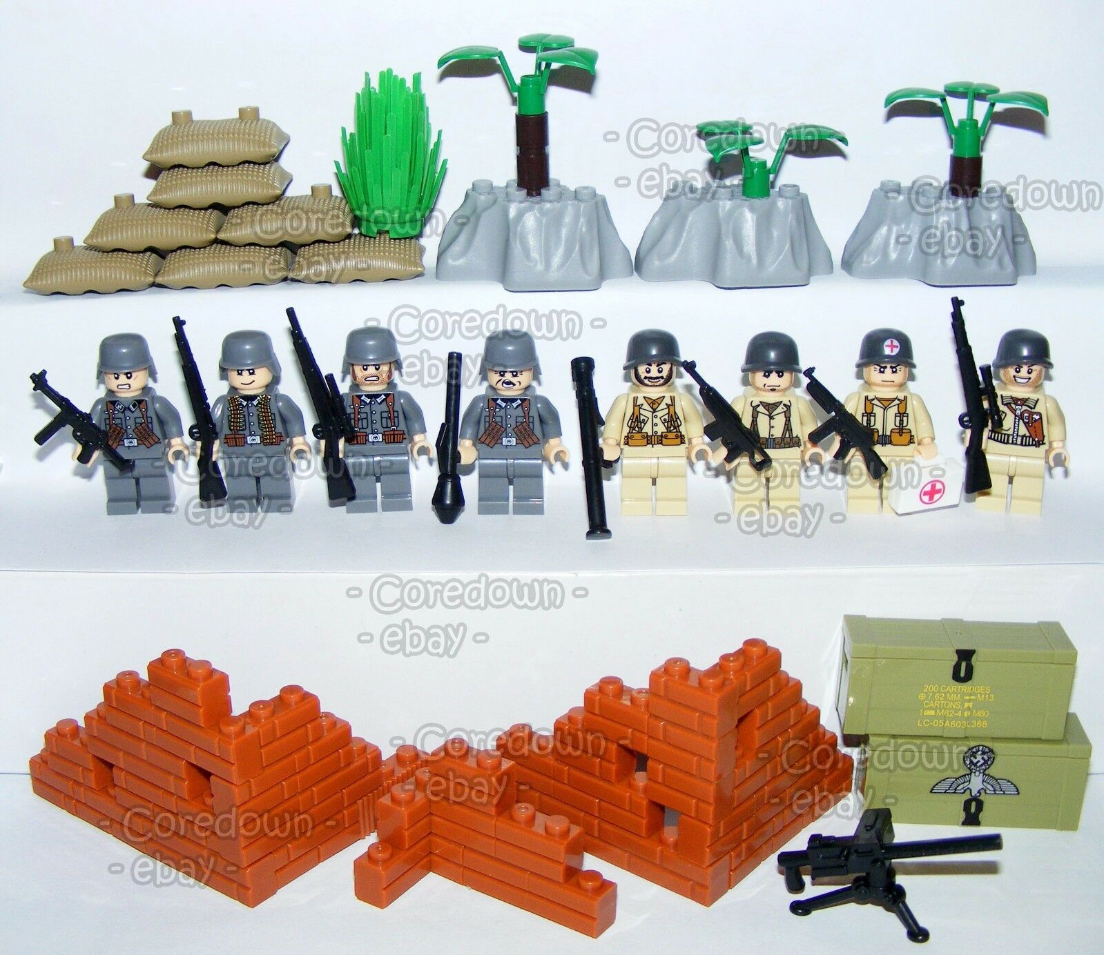 Custom Lego World War 2 German vs vs vs USA Military Soldiers Army Minifigures & Brick 03b185