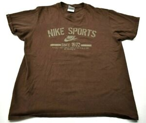 Nike-Men-039-s-Large-L-Crew-Neck-Short-Sleeve-Brown-Graphic-T-Shirt-Tee-Top