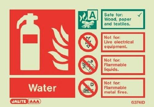 6374 WATER Fire Extinguisher sign Jalite Photoluminescent